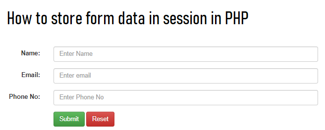 How to Store Form Data in Session in PHP
