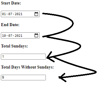 How to exclude Sundays between two dates in javascript